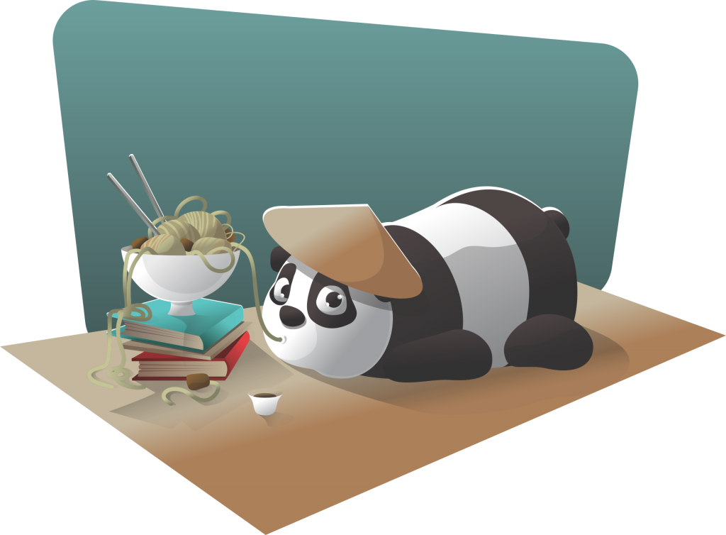Cartoon of panda lying on a table. It eats noodles that are placed on books. Learning Chinese is hard but fun.