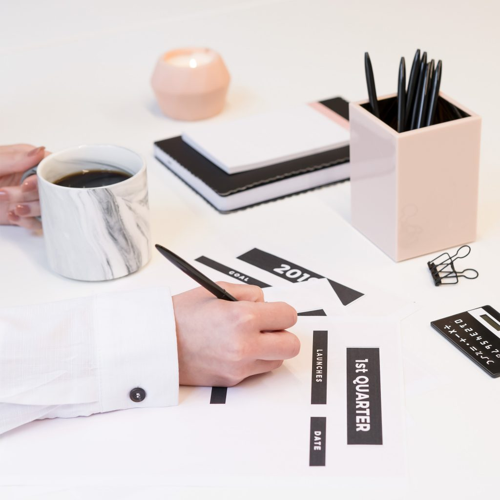 desk with stationary