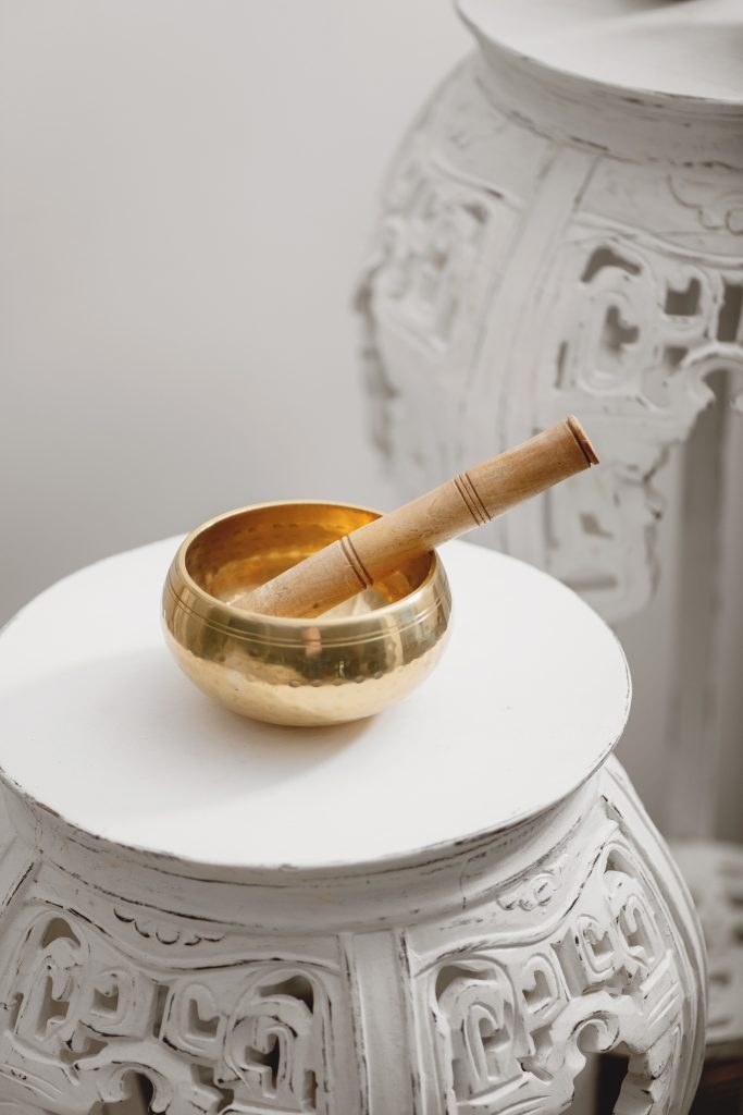 singing bowl on table for stress prevention and getting things done