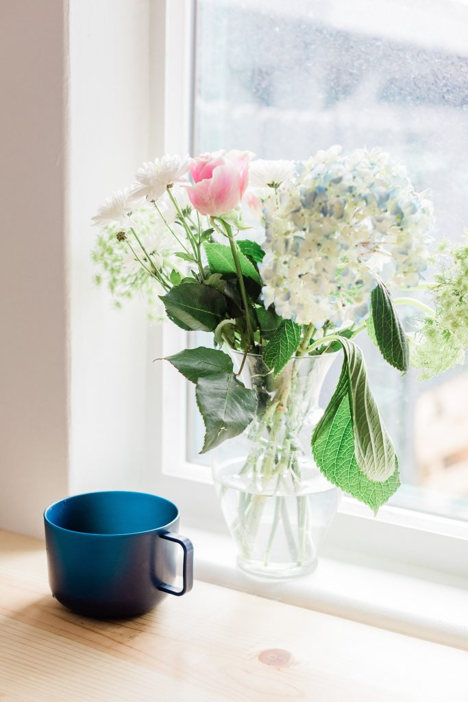 Flower at a window with cup of something