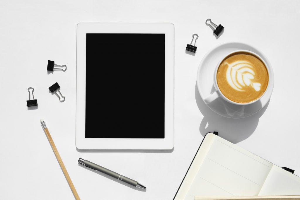 how to learn with coffee, iPad, and stationary